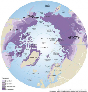 Permafrost extent, Nothern hemisphere. Image courtesy of the International Permafrost Assn.